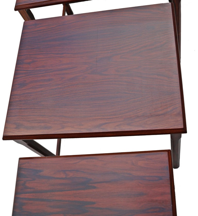 Danish Modern Rosewood Nesting E.W. Bach Toften Stacking Side End Accent Tables For Sale 1