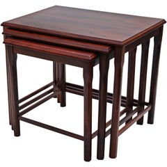 Danish Modern Rosewood Nesting E.W. Bach Toften Stacking Side End Accent Tables