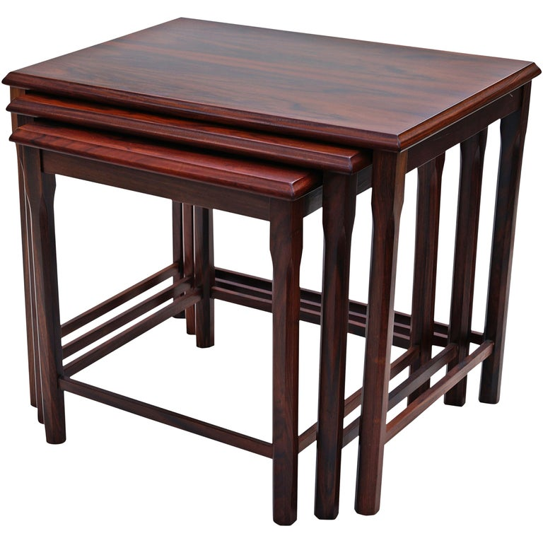 Danish Modern Rosewood Nesting E.W. Bach Toften Stacking Side End Accent Tables For Sale