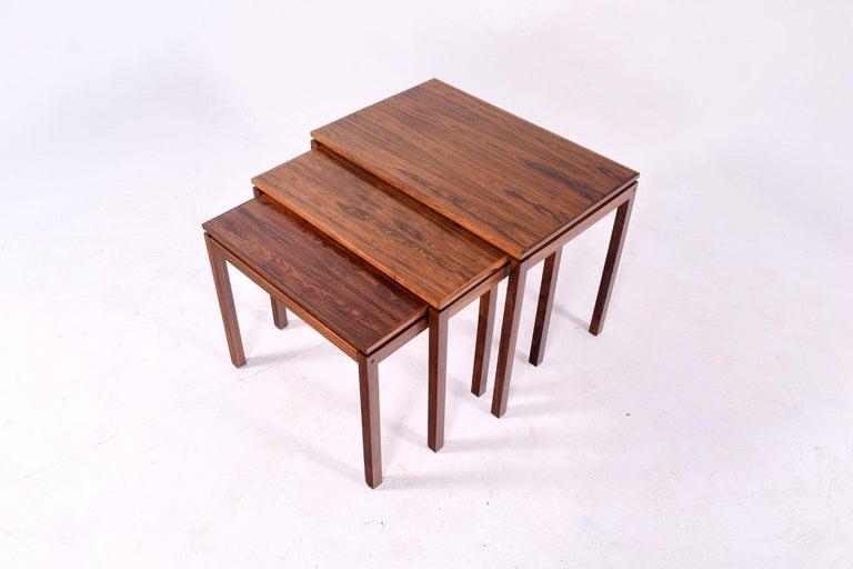 Mid-Century Modern Danish Modern Rosewood Nesting Tables by Fabian