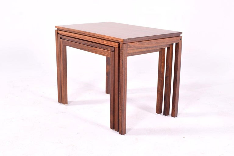 Danish Modern Rosewood Nesting Tables by Fabian 2