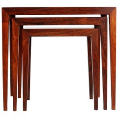Danish Modern Rosewood Nesting Tables by Severin Hansen for Haslev Møbelfabrik