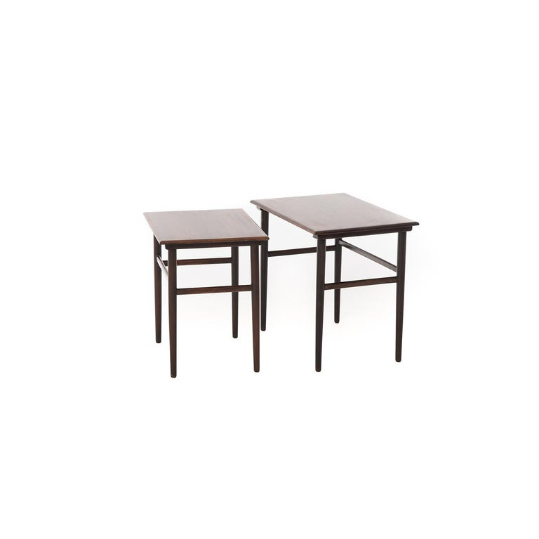 Lacquered Danish Modern Rosewood Nesting Tables For Sale