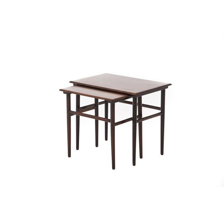 Danish Modern Rosewood Nesting Tables In Good Condition For Sale In Minneapolis, MN