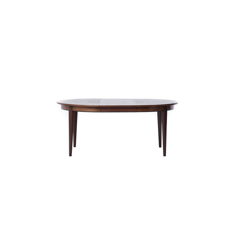 Lacquered Danish Modern Rosewood Round to Oval Dining Table with Two Leaves