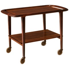 Rosewood Danish Modern Serving Bar Cart by Niels O. Moller