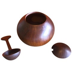 Danish Modern Rosewood Sugar Bowl with Spoon and Lid