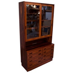 Danish Modern Rosewood Vitrine / Buffet and Hutch by Poul Hundevad