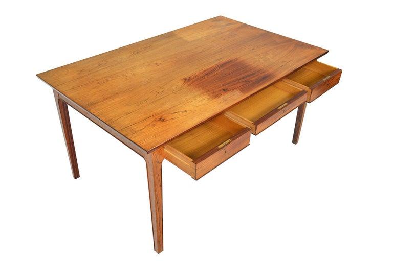 Scandinavian Modern Danish Modern Rosewood Writing Desk in the Manner of Fritz Henningsen For Sale