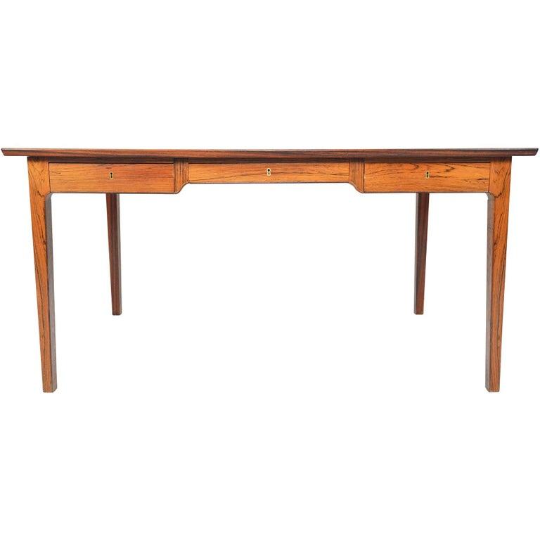 Danish Modern Rosewood Writing Desk in the Manner of Fritz Henningsen For Sale