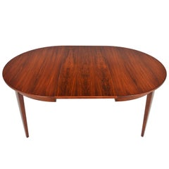 Danish Modern Round Brazilian Rosewood Table with Leaf