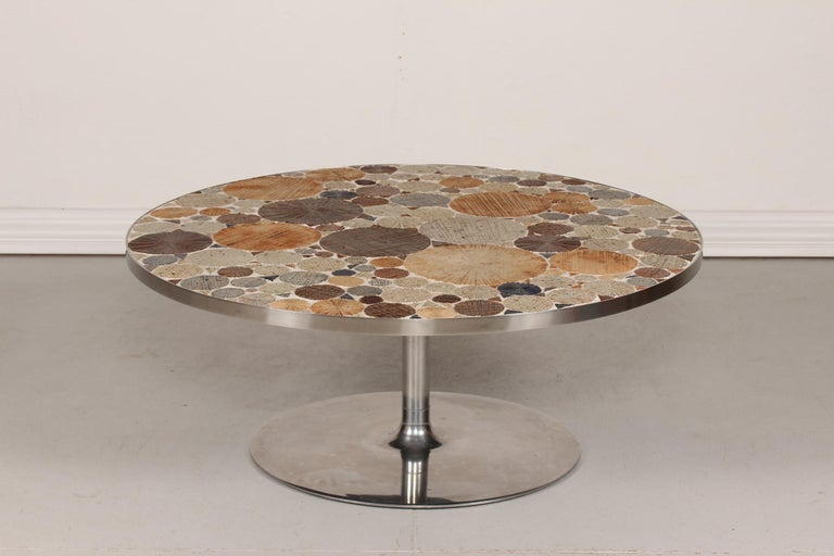 Danish Modern Round Coffee Table with Metal Base and Tiles by Tue Poulsen, 1960s For Sale 6