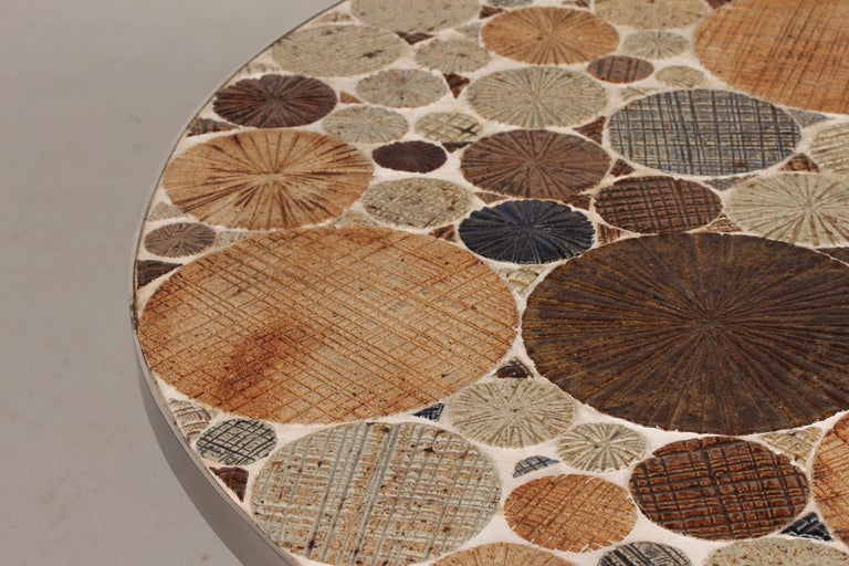 Scandinavian Modern Danish Modern Round Coffee Table with Metal Base and Tiles by Tue Poulsen, 1960s For Sale