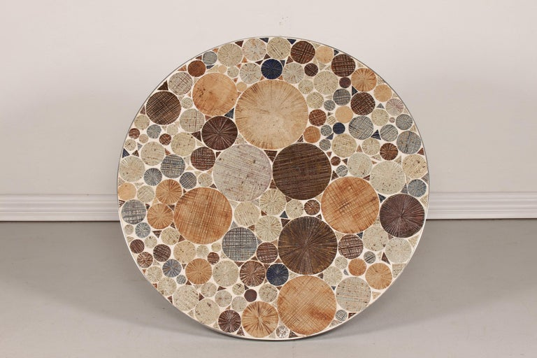 Aluminum Danish Modern Round Coffee Table with Metal Base and Tiles by Tue Poulsen, 1960s For Sale