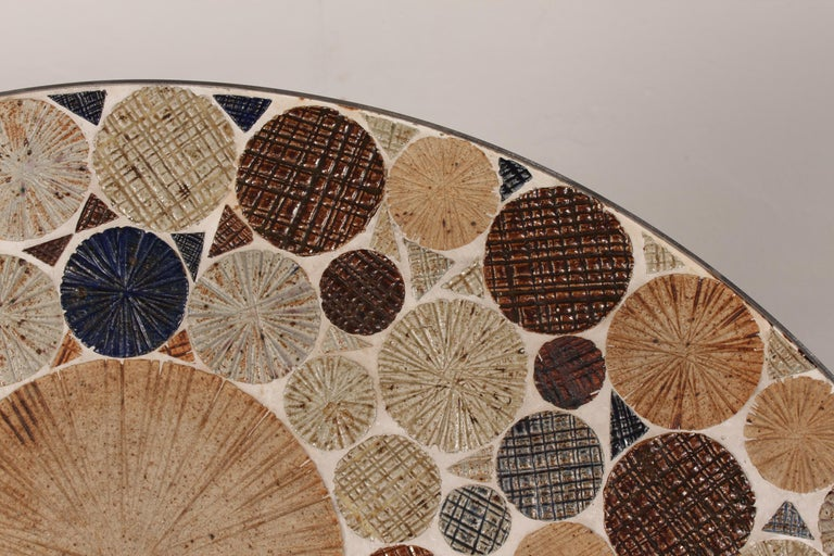 Danish Modern Round Coffee Table with Metal Base and Tiles by Tue Poulsen, 1960s For Sale 2