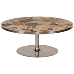 Danish Modern Round Coffee Table with Metal Base and Tiles by Tue Poulsen, 1960s
