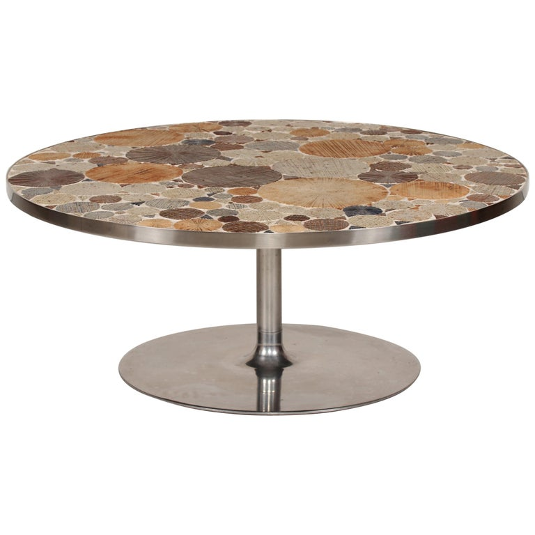 Danish Modern Round Coffee Table with Metal Base and Tiles by Tue Poulsen, 1960s For Sale