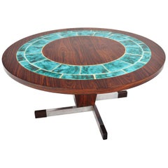 Danish Modern Round Rosewood and Turquoise Tile Coffee Table