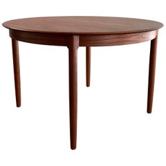 Danish Modern Round Teak Extension Dining Table