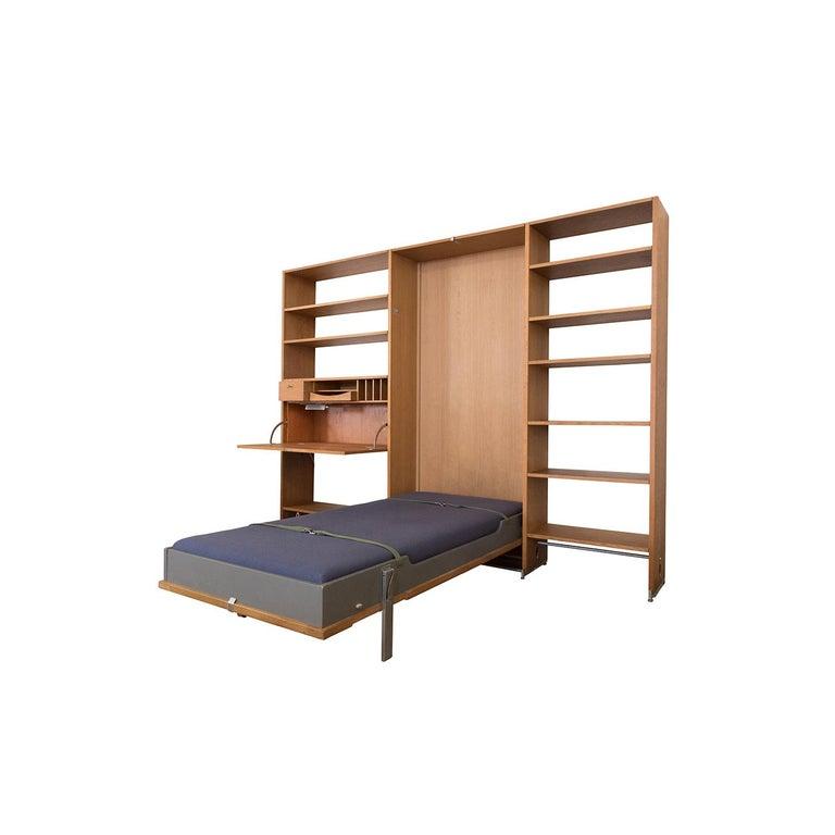 Oiled Danish Modern RY100 Murphy Bed, Desk & Shelving System by Hans J Wegner for Ry For Sale