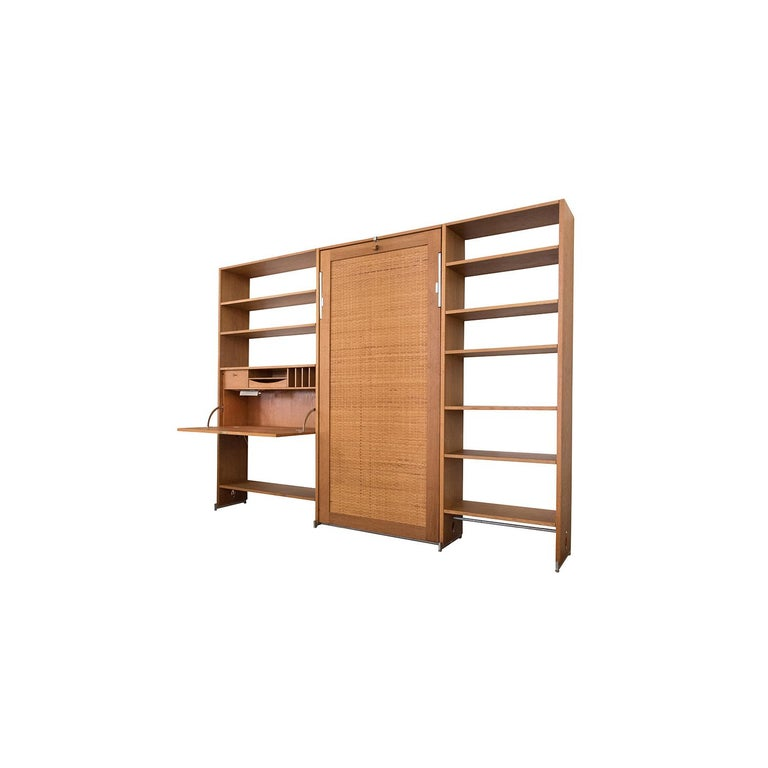 Danish Modern RY100 Murphy Bed, Desk & Shelving System by Hans J Wegner for Ry In Excellent Condition For Sale In Minneapolis, MN