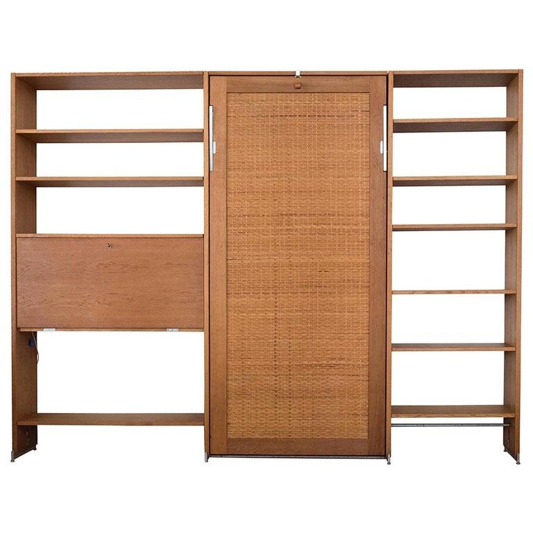 Danish Modern RY100 Murphy Bed, Desk & Shelving System by Hans J Wegner for Ry For Sale