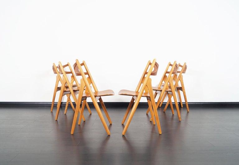 Danish Modern 'Sawbuck' CH-29 Dining Chairs by Hans J. Wegner For Sale 5