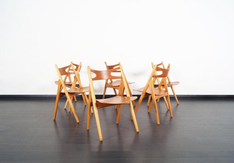 Scandinavian Modern Danish Modern 'Sawbuck' CH-29 Dining Chairs by Hans J. Wegner For Sale