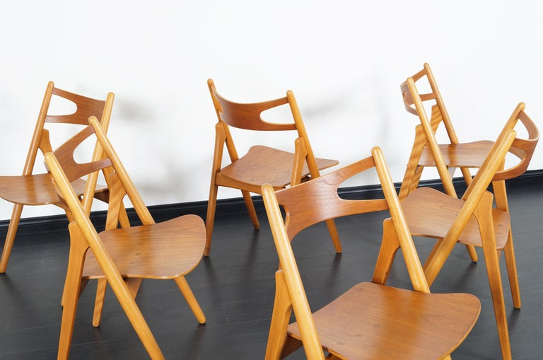 Mid-20th Century Danish Modern 'Sawbuck' CH-29 Dining Chairs by Hans J. Wegner For Sale