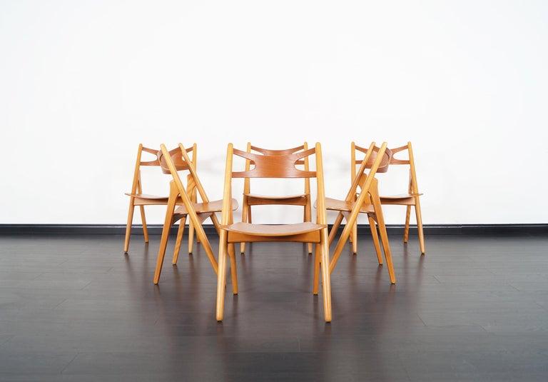 Beech Danish Modern 'Sawbuck' CH-29 Dining Chairs by Hans J. Wegner For Sale