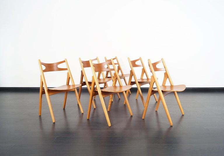 Danish Modern 'Sawbuck' CH-29 Dining Chairs by Hans J. Wegner For Sale 2