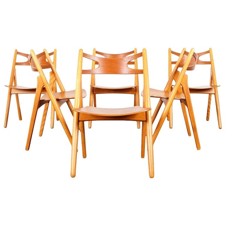 Danish Modern 'Sawbuck' CH-29 Dining Chairs by Hans J. Wegner For Sale