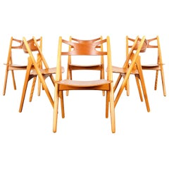 Danish Modern 'Sawbuck' CH-29 Dining Chairs by Hans J. Wegner
