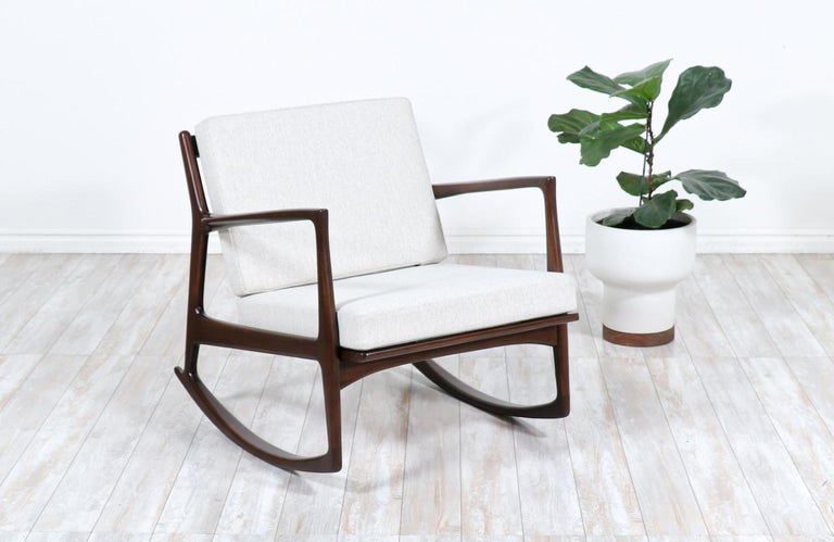 Mid-Century Modern Danish Modern Sculpted Rocking Chair by Ib Kofod-Larsen for Selig For Sale