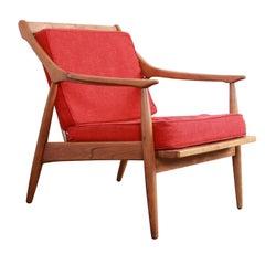 Danish Modern Sculpted Walnut Lounge Chair, 1960s