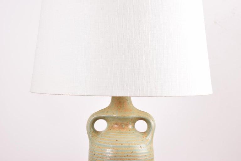 Danish Modern Sculptural Ceramic Table Lamp Green Ochre Glaze by Knabstrup 1960s For Sale 7