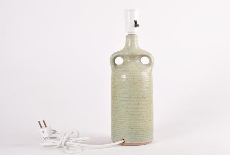 Mid-20th Century Danish Modern Sculptural Ceramic Table Lamp Green Ochre Glaze by Knabstrup 1960s For Sale