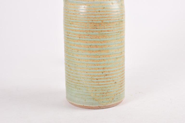 Danish Modern Sculptural Ceramic Table Lamp Green Ochre Glaze by Knabstrup 1960s For Sale 3