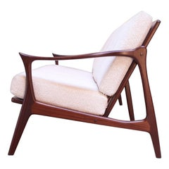Danish Modern Sculptural Rosewood Sofa with Slat-Back Construction