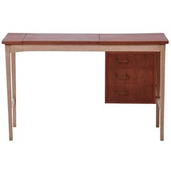 Danish Modern Secretary Desk with Mirror and Brass Detailing