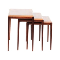 Danish Modern Set of 3 Rosewood Nesting Tables by Johannes Andersen