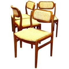 Danish Modern Set of 4 Solid Teak Dining Chairs