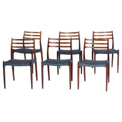 Danish Modern Set of 6 Dining Chairs in Rosewood by Niels Otto Moller, 1960s