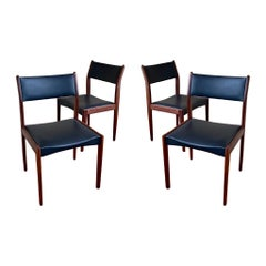 Danish Modern Set of Four Solid Walnut Frames Dinning Chairs