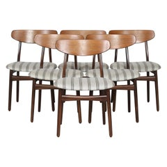 Danish Modern Set of Six Curved Back Dining Room Chairs with Striped Upholstery