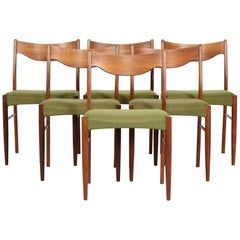 Danish Modern Set of Six Dining Room Chairs of Rosewood with Green Upholstery