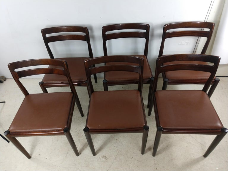 Danish Modern Set of Six Rosewood Dining Chairs H W Klein for Bramin For Sale 5