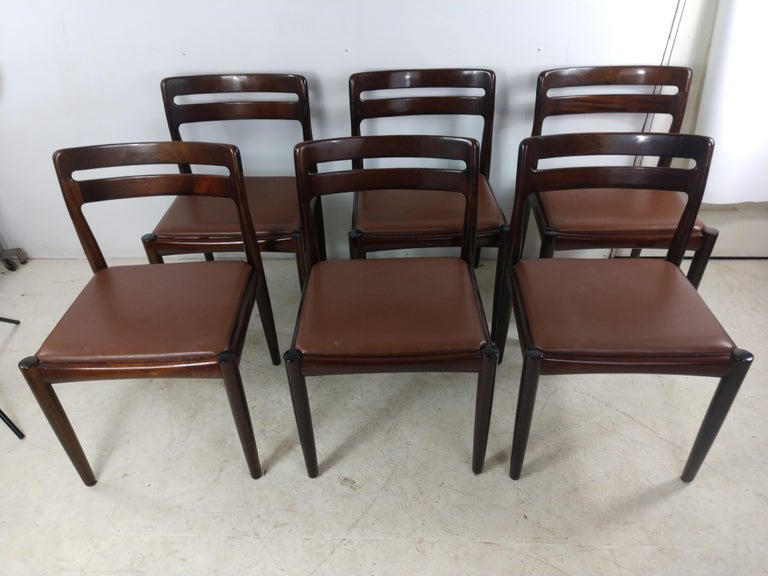 Danish Modern Set of Six Rosewood Dining Chairs H W Klein for Bramin For Sale 6