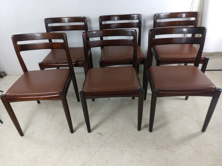 Danish Modern Set of Six Rosewood Dining Chairs H W Klein for Bramin For Sale 7