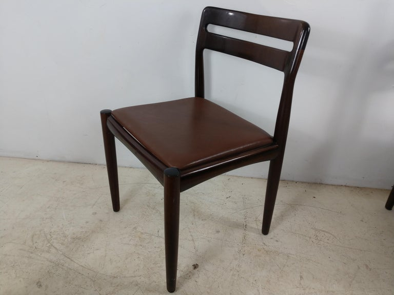 Polished Danish Modern Set of Six Rosewood Dining Chairs H W Klein for Bramin For Sale